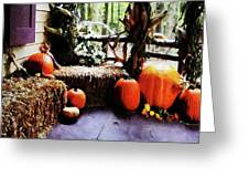 Pumpkins On Porch Greeting Card