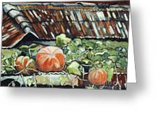 Pumpkins On Roof Greeting Card
