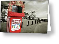 Punch And Judy Theatre On Llandudno Promenade Greeting Card