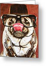Punk Pug Greeting Card