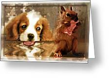 Pup And Squirrel Greeting Card