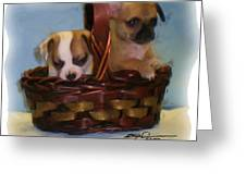 Pups In A Basket Greeting Card
