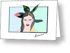 Pure Elixir- Beautiful Woman Portrait Minimalist Drawing Greeting Card