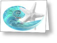 Pure Joy - Starfish With Nautilus Shell Greeting Card