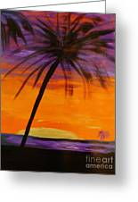 Purple And Orange Sky Greeting Card by Marie Bulger