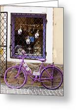 Purple Bicycle Greeting Card