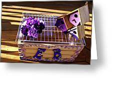 Purple Birdhouses 1 Greeting Card