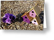 Purple Birdhouses 2 Greeting Card