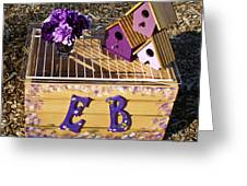Purple Birdhouses 3 Greeting Card