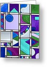 Purple-blue-green Abstract 3 Greeting Card