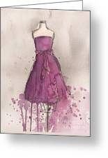Purple Bow Dress Greeting Card