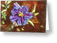 Purple Cactus Flower Greeting Card