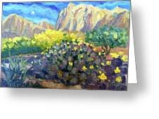 Purple Cactus With Yellow Flower Greeting Card