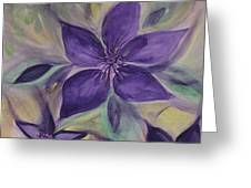 Purple Clematis Abstract Greeting Card