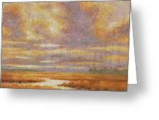 Purple Clouds On Marsh Greeting Card