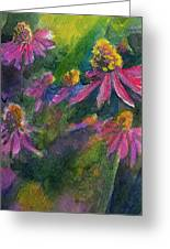 Purple Cone Flowers Outside Beye School Greeting Card