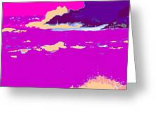 Purple Crashing Waves Greeting Card