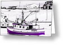 Purple Fishing Boat Greeting Card