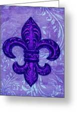 Purple French Fleur De Lys, Floral Swirls Greeting Card