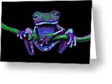 Purple Green Ghost Frog Greeting Card