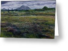Purple Heather And Mount Errigal From Dore Co. Donegal Ireland   Greeting Card
