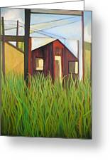 Purple House In A Green Field Greeting Card