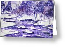 Purple Ice On Kaaterskill Creek Greeting Card