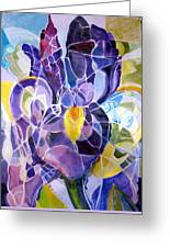 Purple Irises Greeting Card by Therese AbouNader