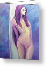 Purple Lady On Blue Greeting Card