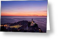 Purple Light On The Adriatic Sea After Sundown With Lights On Pi Greeting Card