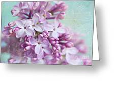 Purple Lilacs With Text Greeting Card
