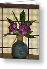 Purple Lilies In Japanese Vase Greeting Card