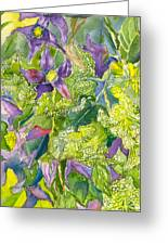 Purple Lillies And Baby's Breath Greeting Card