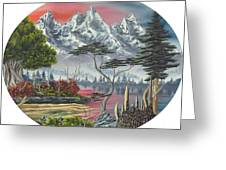 Purple Mountain Lake Greeting Card