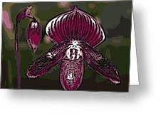 Purple Orchid Woodcut Greeting Card