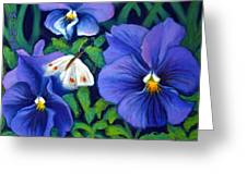 Purple Pansies And White Moth Greeting Card