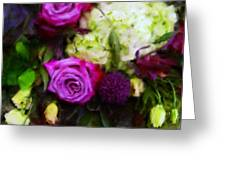 Purple Roses With Hydrangea Greeting Card