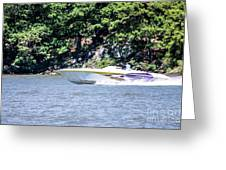 Purple Speed Boat Greeting Card
