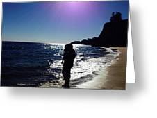 Purple Sun Evening Beach Greeting Card