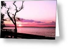 Purple Coastal Sunset Greeting Card