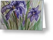 Purple Times 3 Greeting Card
