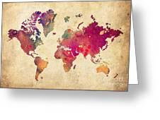 Purple World Map Watercolor Print  Greeting Card