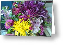 Purple Yellow Flower Mix Greeting Card
