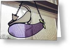 Pussy Cat Eggplant Greeting Card