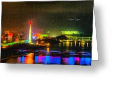 Pyongyang Night Scene Greeting Card