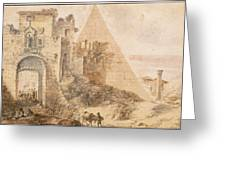 Pyramid Of Cestius And The Porta San Paolo, Rome Greeting Card