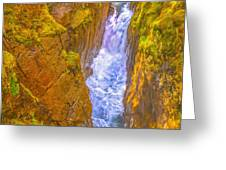 Pyrenees Spanish Bridge Waterfall Greeting Card