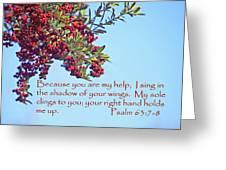 Pyrocanthia Berries Ps. 63 V 7-8 Greeting Card