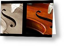 Quadriptych Of Musical Curves Greeting Card
