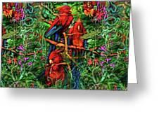 Qualia's Parrots Greeting Card